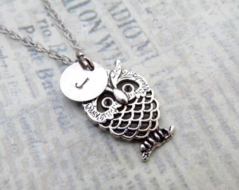 ON SALE - Owl Necklace, Initial Necklace, Handstamped Necklace, Best friend Gift, Handmade