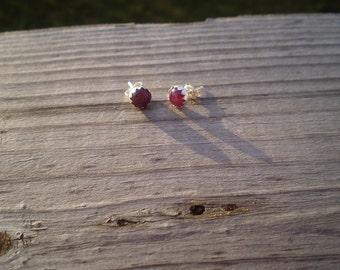 Natural Ruby Stud Earrings 6mm
