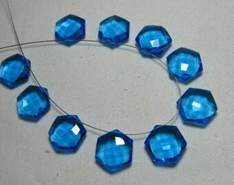 5 Matched Pairs - Blue Color QUARTZ - Super Sparkle Fine Cut Fancy Shape Briolettes Huge size - 15x15 mm So Nice Items