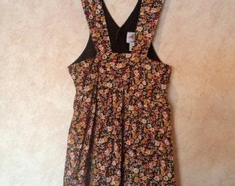 80s Floral Corduroy Pinafore Jumper Dress