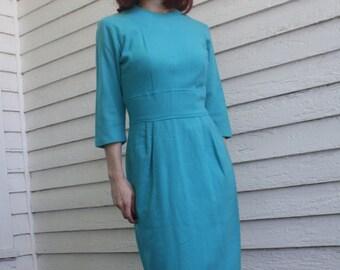 60s Blue Wool Dress Vintage 1960s Winter S XS