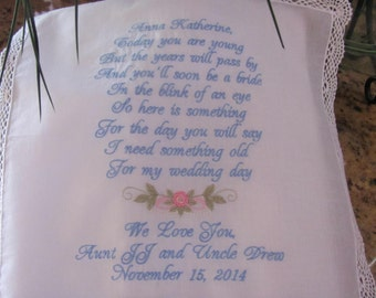 Personalized flower girl machine embroidered wedding handkerchief by Simply Sweet Hankies