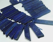 Lapis Gemstone. Top Drilled, Rectangle Drops, 16-50mm. Semi Precious Gemstone. Packet of 3. Your Choice of Size.