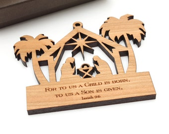 Nativity Ornament Gift Box - Sustainably Harvested Hardwood . Wisconsin Wood Timber Green Woods