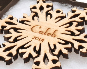 Custom Wood Snowflake Ornament Set made from Assorted Hardwoods - Christmas Ornament Gift Box with Personalized Engraving