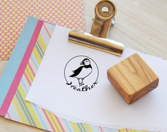 Custom Puffin Olive Wood Stamp