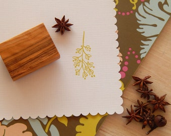 Festive Mistletoe Sprig  Olive Wood Stamp
