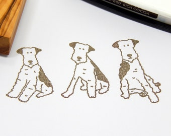 Charity Stamp Wire Fox Terrier - Olive Wood Stamp - 3 styles available