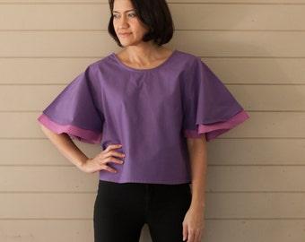 B004 .. Purple Double Layer Blouse
