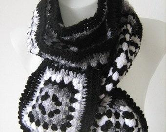 Granny square scarf, afghan crochet, warm, winter, long shawl, white, gray, black, monochrome, handmade, patchwork,lady gift,gorgeous,