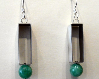 Sterling Silver Constructed Earrings With Jade Bead