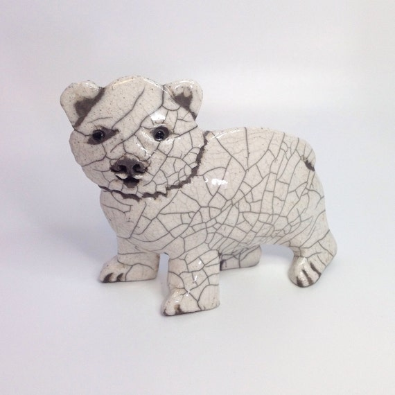 Polar Bear Baby Raku Pottery small animal sculpture rustic ornament arctic ceramic clay crackle
