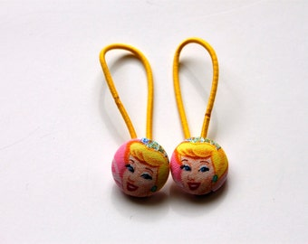 Cinderella Fabric Covered Button Ponytail Holders