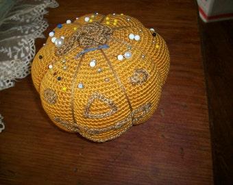Pumpkin 1920s antique pincushion