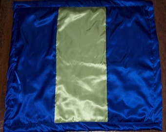"Satin Baby Blanket  Royal Blue and Lime Green Satin  33' by 36"" custom made"