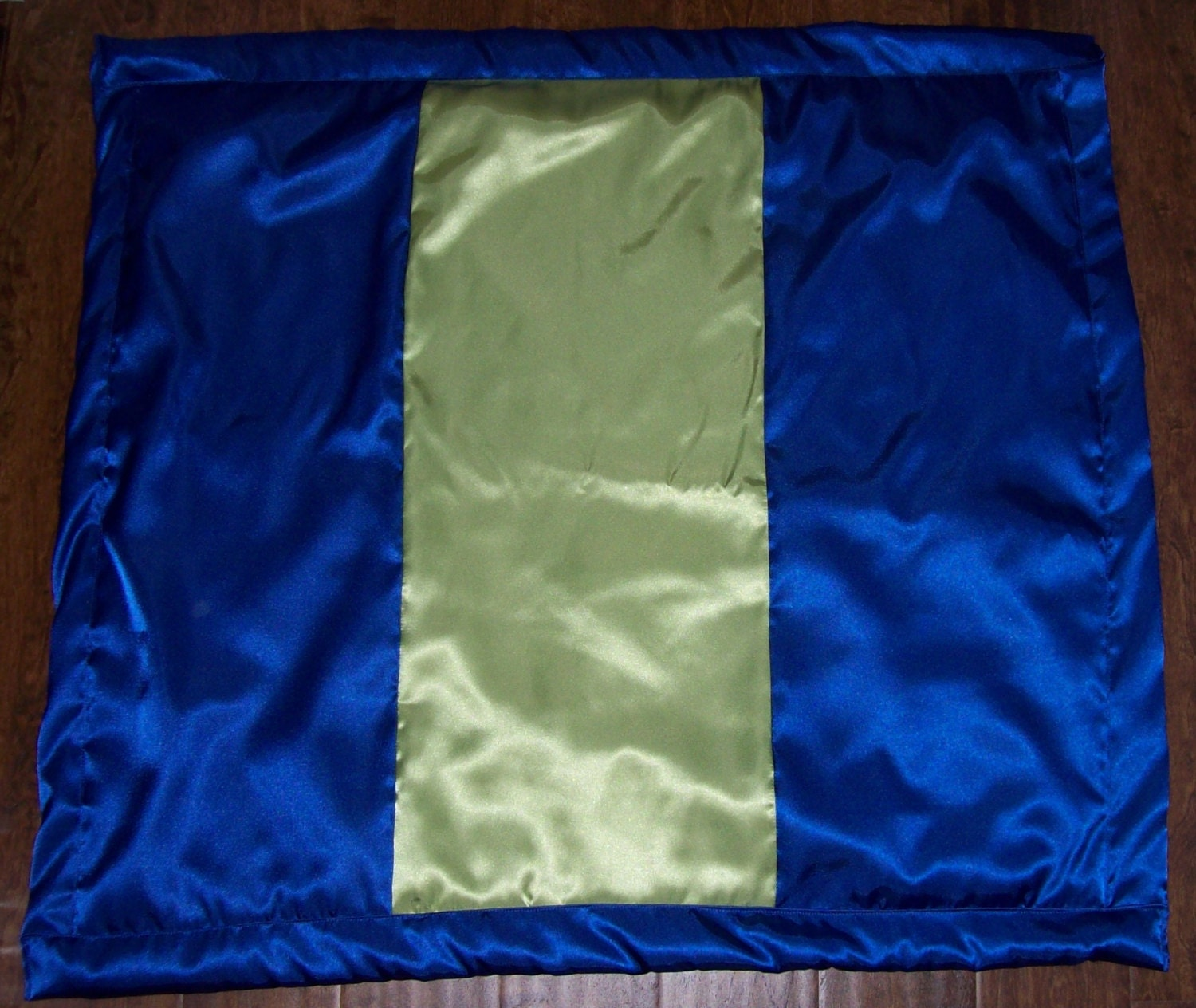 Satin Baby Blanket Royal Blue And Lime Green Satin 33