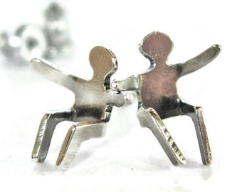 SHINY Silver People Stud Earrings