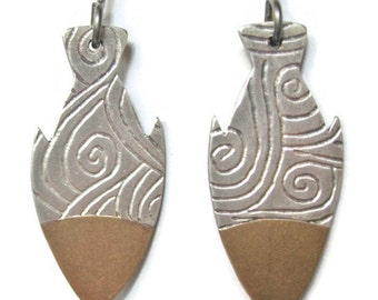Fish Shaped Mixed Metal Earrings Etched Silver and Brass