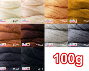 Tussah silk tops 100g --- Perfect for creating light effects both with needle and wet felting.