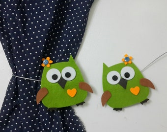 Curtain Holders- Curtain Tie Backs Magnet With Green Owls
