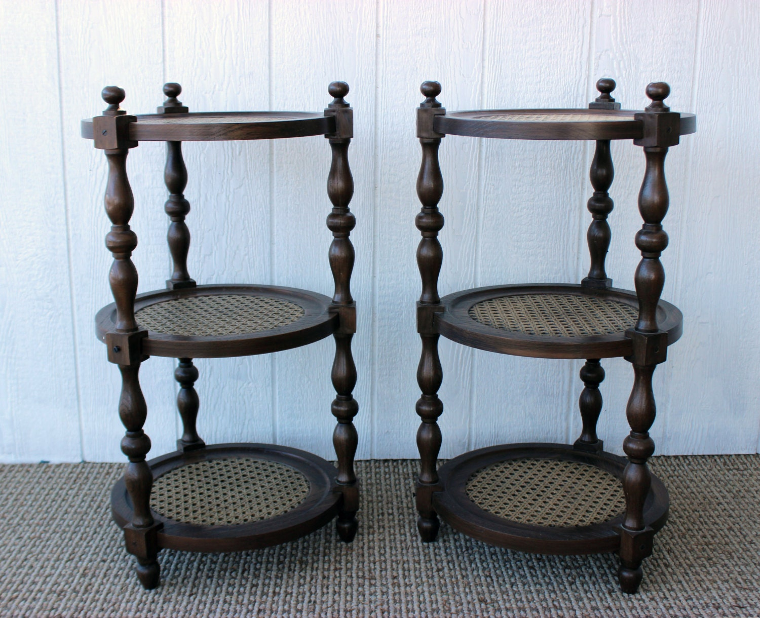 Vintage retro 3 tier brown round circle end tables by for Retro end tables