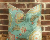 Decorative Pillow Cover: Contemporary Floral Design Size 18 X 18 Pillow Cover in Spa Green, Terracotta and Yellow