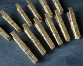 Gold Glitter Clothespins - clothes pins - Decorations for weddings - place cards, favors, escort cards, wishing tree, packageing