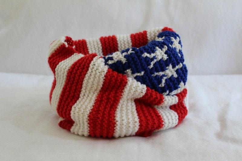KNITTING PATTERN American Flag Infinity Scarf PDF knitting