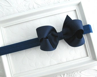 Navy Blue Baby Hair Bow Headband for Baby Girls, Newborns, Infants, Toddlers and Big Girls, Light Navy Blue Boutique Bow Headband,