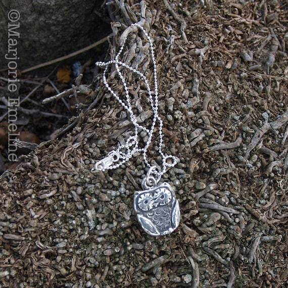 Be Wise Owl Fine Silver Pendant with Sterling Silver Chain