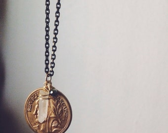 SALE Brass Coin & Quartz Stone Specimen Charm Necklace // gypsy necklace witchy unique gifts