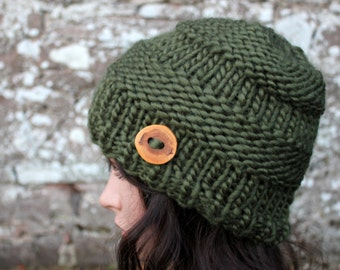 HAT knitted chunky womens - Big softie hat in olive,  super chunky hat, gift for her, UK