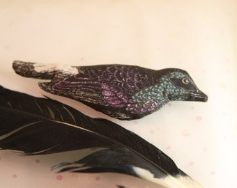 Vintage Soft Bird Pin Unique Cloth Stuffed Printed Bird Fabric Teal Purple
