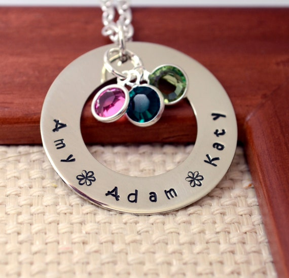 Mommy Personalized Washer Necklace, Hand Stamped Jewelry, Custom Neckace, Mom, Mommy, Mother, Birthstone, Washer Necklace