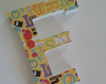 Wooden Letter for Teacher Gift - School Themed Wooden Initial - Freestanding Wood Letter of Choice