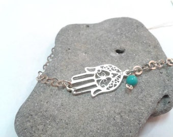 Silver with Turquoise stone Hamsa Good Luck Bracelet. Protection Hamsa. Judaica jewelry. Kabbalah Jewelry. Girl Jewelry. Graduation Gift