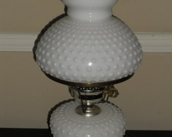 Vintage White Hobnail Hurricane Lamp-Hobnail Shade And Base-NICE!!!