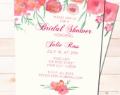 Bridal Shower Invitation -Painted Red Flowers -  PRINTABLE Customized and Personalized