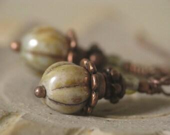 Vegetable Garden - Olive Green Glass Bead Earrings in Antiqued Copper