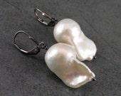 Ghost earrings, handmade flameball baroque pearl earrings, sterling silver, Halloween-OOAK