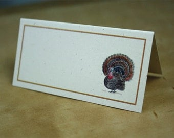 Turkey Placecards for Your Thanksgiving Table, Set of 12. Watercolor Turkey Design with Rust Orange Border, Recycled Paper