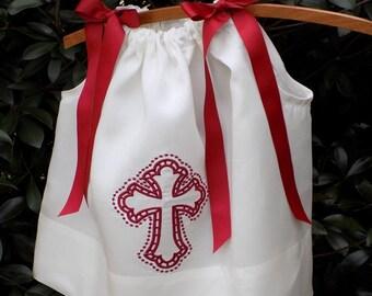 pillowcase dress cutwork cross embroidery crimson color sizes 9 mo - 4T