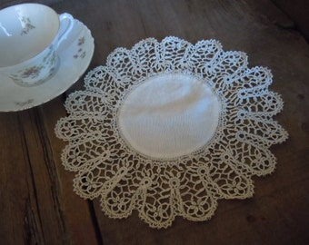 Vintage Doily Creamy White Romantic Shabby Chic Cottage  Handmade Delicate Tatted Needlework Home Decor  AMarigoldLife