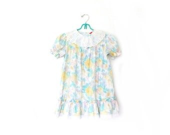 vintage dress girls childrens clothing 80s 1980s pastel floral print lace collar size 6