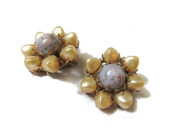 vintage earrings 50s 60s clip ons pearl cluster bead flower yellow purple gold 1950s jewelry