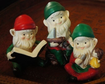 Vintage 70s 80s Porcelain Gnome Elfs Figurines Fairy garden Decor By Homco Retro