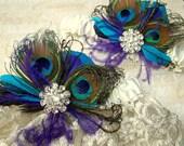 WEDDING GARTER SET, Lace Bridal Garter, Peacock Garter set,  Wedding Garters, Blue Green Purple Teal, Garter Toss Set