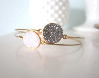 Personalized druzy bangle, druzy bangle bracelet, modern pretty jewelry