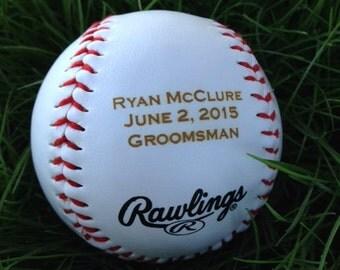6 Custom engraved baseball for groomsman's gift, wedding gift, trophy, award, etc.