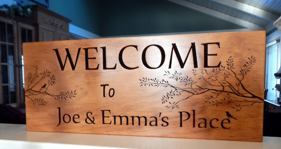 Welcome to our home, Carved Personalized Family Name Sign...8 x 18 Family Name Sign